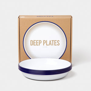 Enamel Deep Plate Box of 4 White with Blue Rim