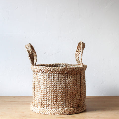Jute Basket Hatched Weave Small