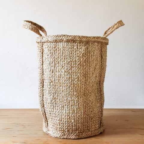 Jute Basket Hatched Weave Tall 48cm