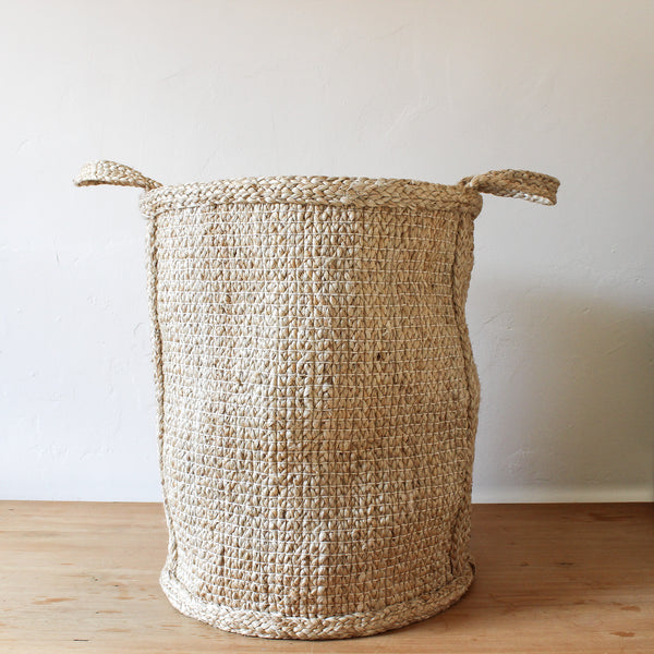 Jute Basket Hatched Weave Tall 52cm