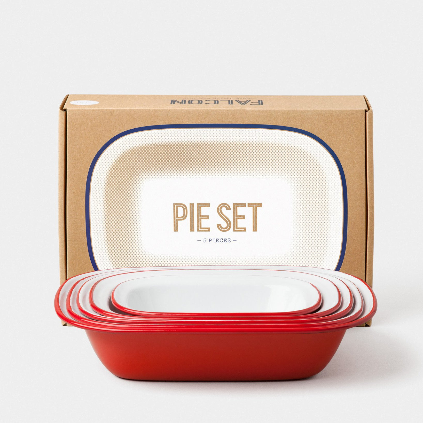 Enamel Pie Set Pillarbox Red