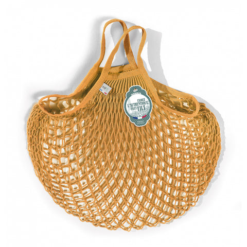 French String Bag Short Handle Jaune Gold