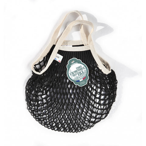 French String Bag Petit Noir poignee Ecru