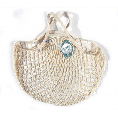 French String Bag Short Handle Ecru Bio