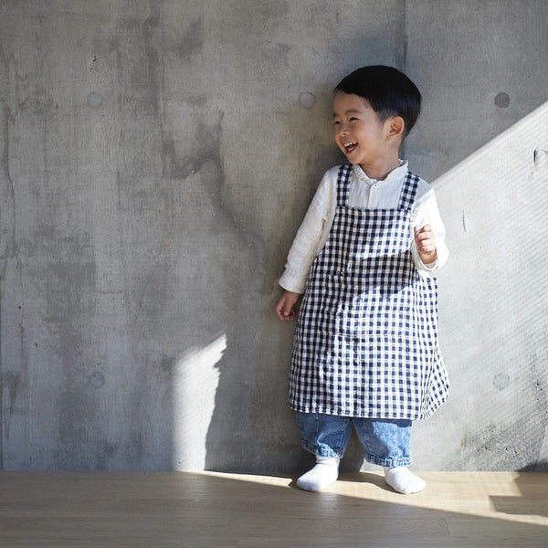 Linen Kids Apron Navy White Check