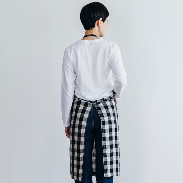 Linen Daily Apron Black Natural Check
