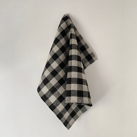 Thick Linen Cloth Black Natural Check