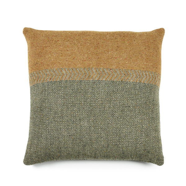 Jules Cushion Green Herringbone 63cm x 63cm
