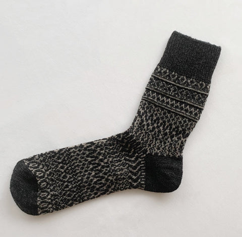Oslo Wool Jacquard Sock Charcoal Large