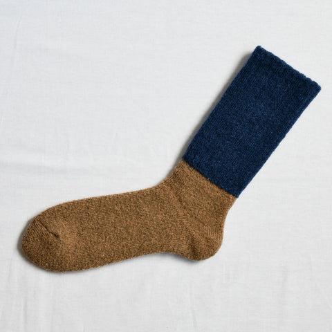 Oslo Mohair Wool Pile Sock Navy Cappuccino Large