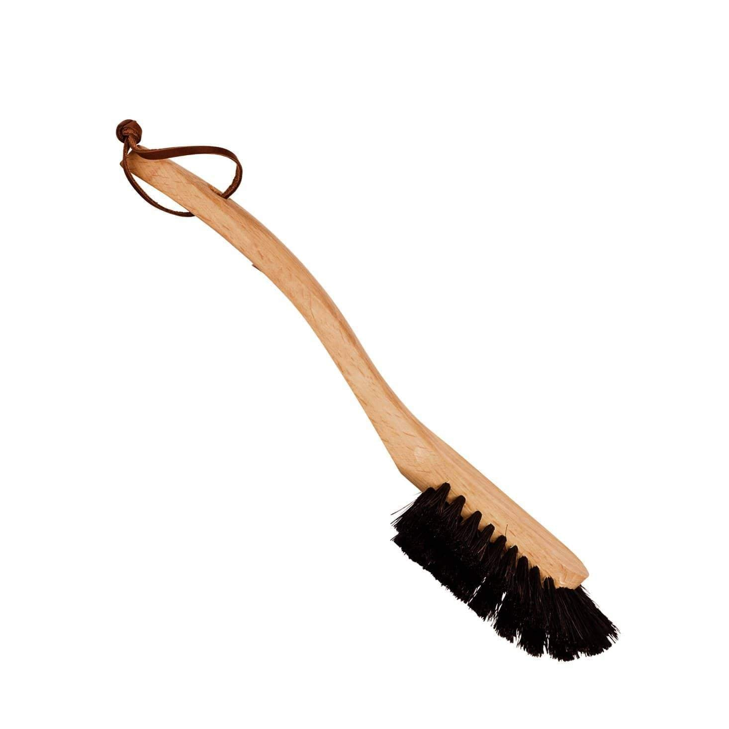 Dish Brush with Leather Strap Black