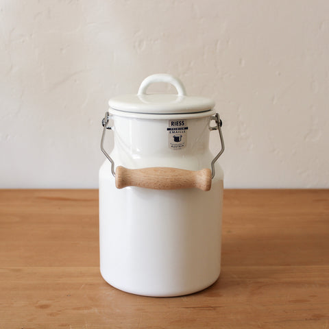 Grandma's Milk Can with Enamel Lid and Wooden Handle