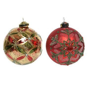 Decorated 10cm Baubles - 2 colours-Gold & Burgundy