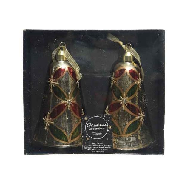 Glass Bell decoration 13cm in a window box of 2