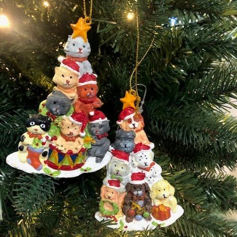 10cm Stack of Cats and Dogs Christmas Tree