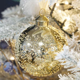 Decorated Glass Bauble 8cm shiny with decoration