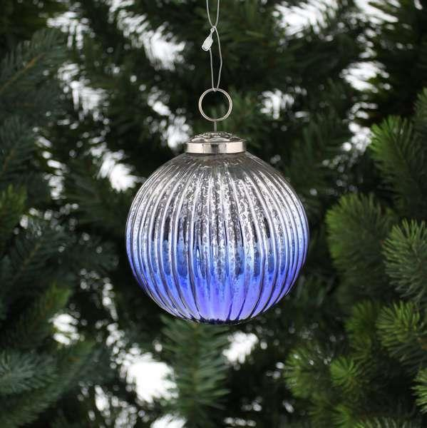 10cm Silver and Dark Blue Ombre Glass Ball