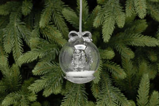 10cm Silver Glass Ball with Santa