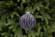 8cm Plum Glass Ball with Silver Glitter Wavy Lines