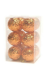 Pack of 12 6cm Orange Geometric Shatterproof Balls