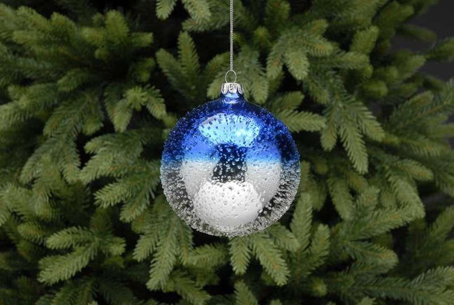 8cm Blue and Silver Frost Ball