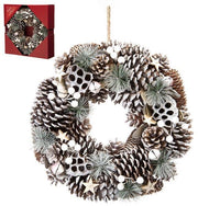 36cm White Pinecone and Berries Wreath