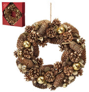 36cm Gold Balls and Berries Pinecone Wreath