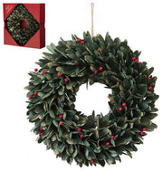 36cm Green Leaf and Red Berries Wreath