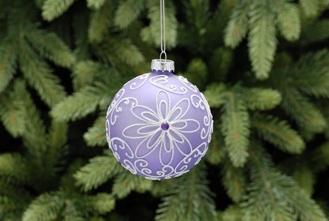 8cm Lilac Glass Ball with Flower Design