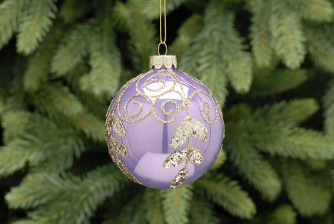 8cm Shiny Lilac with Gold Swirls Glass Ball