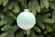 8cm Ice Blue Ombre Frosted with Lines Glass Ball