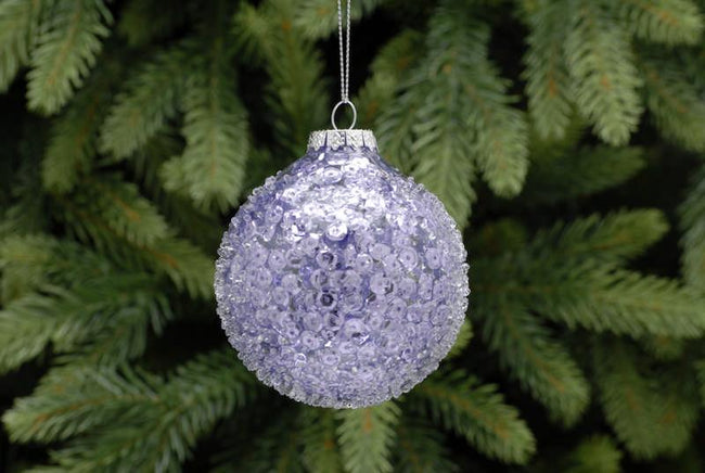 8cm Lilac Glitter Crusted Ball
