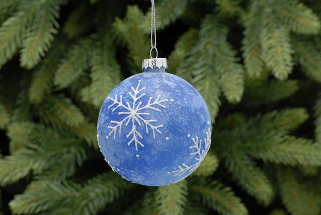 8cm Blue with Frosted effect Glass Ball