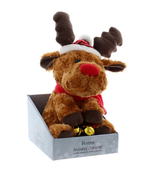 31cm Animated Reindeer with Jingle Bells