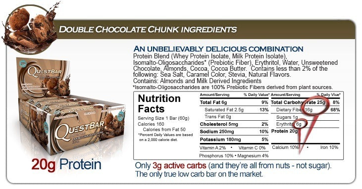 Quest Nutrition Protein Bars - Double Chocolate Chunk (Box of 12)