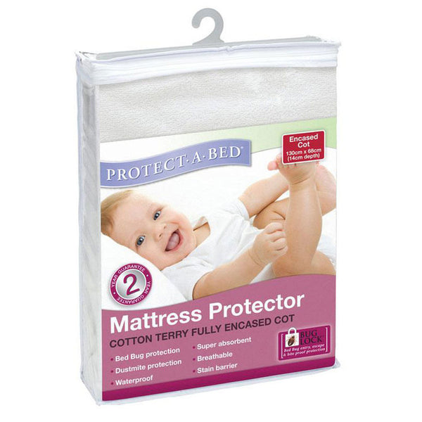 Protect-A-Bed Cotton Terry Fully Encased Cot Mattress Protector