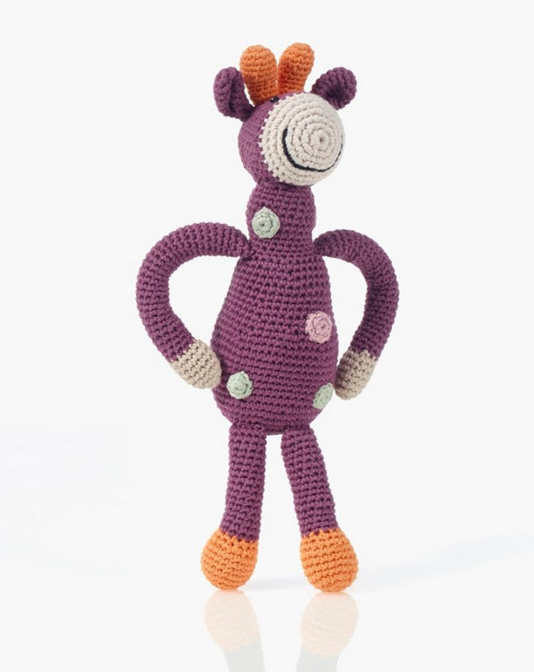 Pebble Organic Giraffe Rattle - Soft Purple