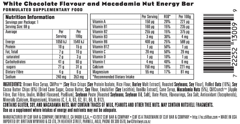 Clif Bar - White Chocolate Macadamia (Box of 12)