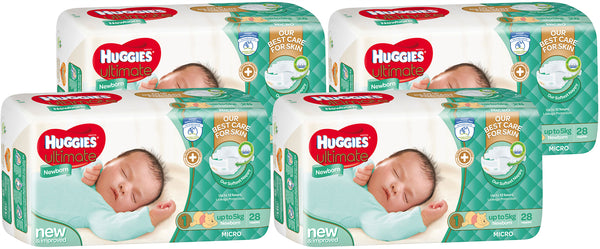 Huggies Ultimate Nappies Convenience Value Box - Size 1 Newborn (112)