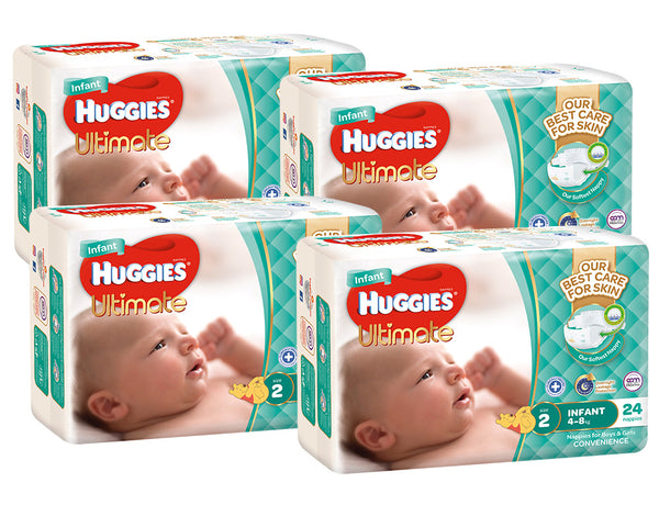 Huggies Ultimate Nappies Convenience Value Box - Size 2 Infant (96)