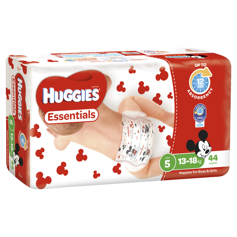 Huggies Essentials Nappies Bulk - Size 5 Walker (44)