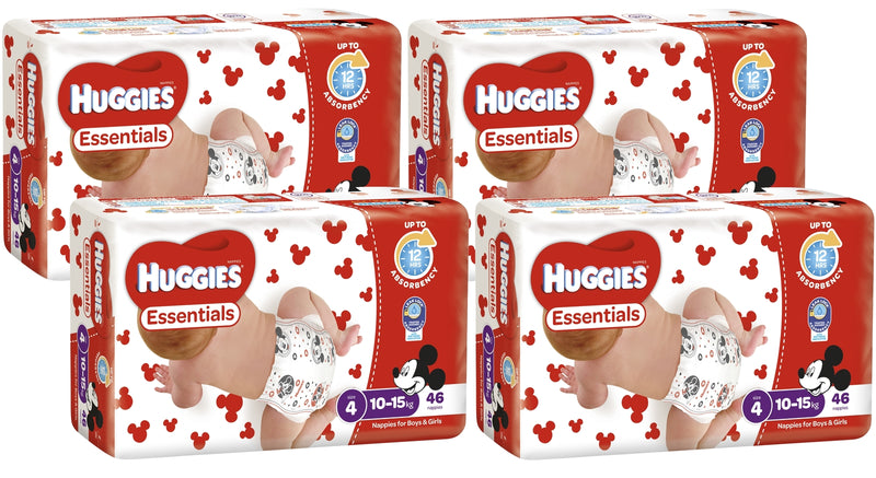 Huggies Essentials Nappies Bulk Value Box -Size 4 Toddler (184)
