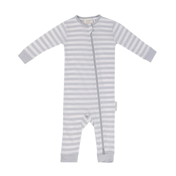 Woolbabe Merino/Organic Cotton PJ Suit - Pebble (6-12 Months)