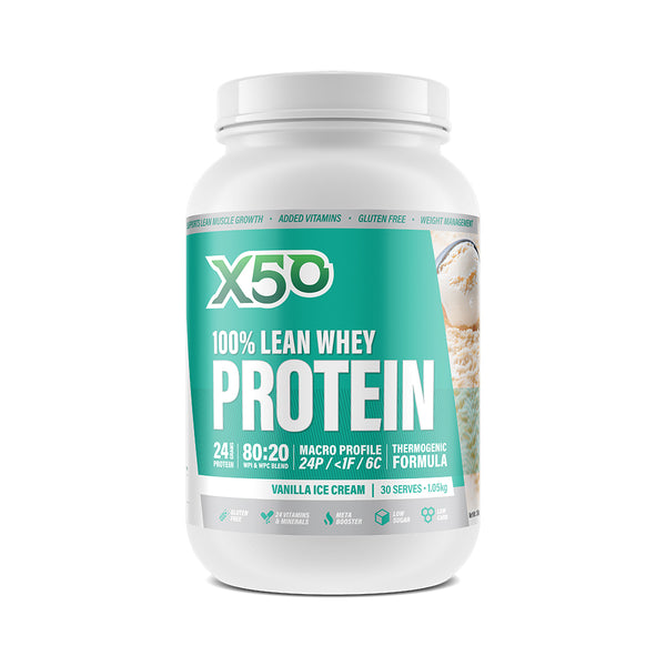 Green Tea X50: 100% Lean Whey Protein - Vanilla Ice Cream (1kg)