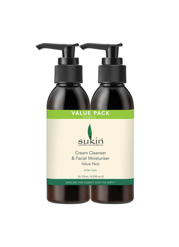 Sukin: Facial Cleanser + Moisturiser VALUE PACK (2 x 125ml)