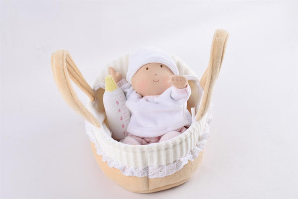Bonikka: Carry Cot with Baby Doll, Bottle & Blanket (23cm)