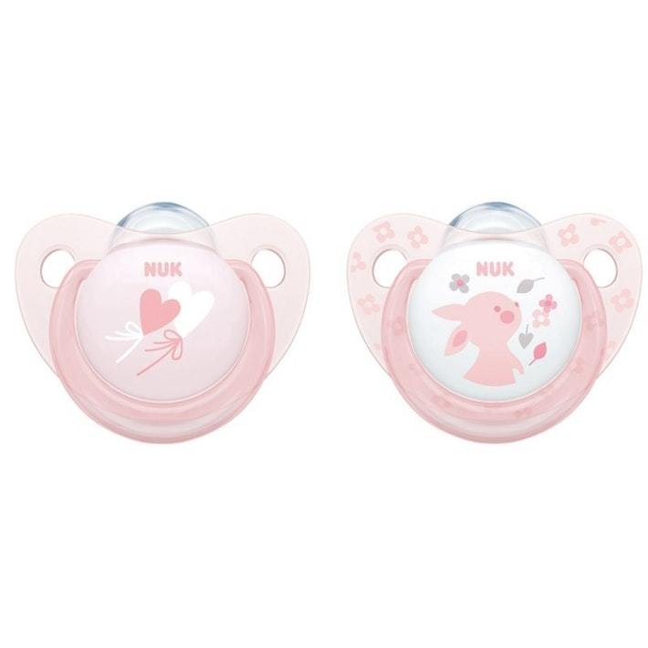 NUK: Silicone Soother - 0-6 Months (2 Pack) - Baby Rose