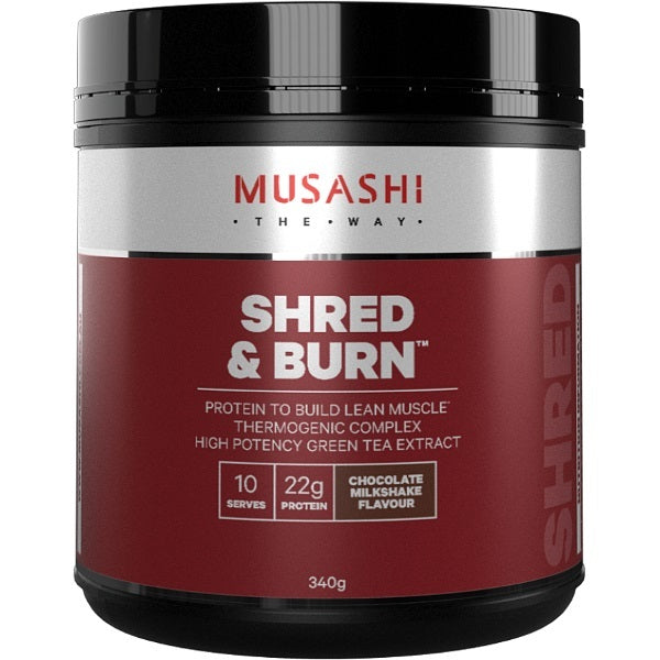 Musashi Shred & Burn Protein Powder - Chocolate Milkshake (340g)