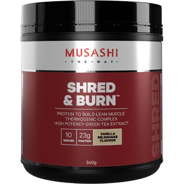 Musashi Shred & Burn Protein Powder - Vanilla Milkshake (340g)