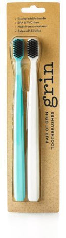 Grin: Biodegradable Charcoal-Infused Toothbrush - Twin Pack (Teal & White)